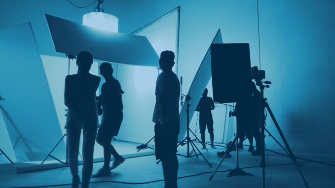 A team working on the set of a production for video marketing