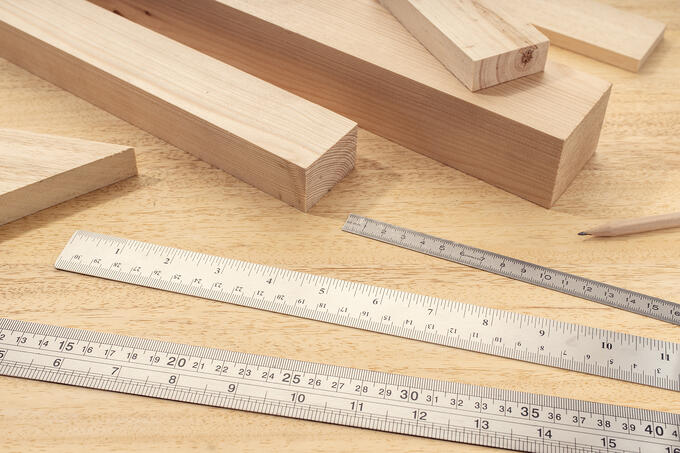 different lengths of wood materials and rulers